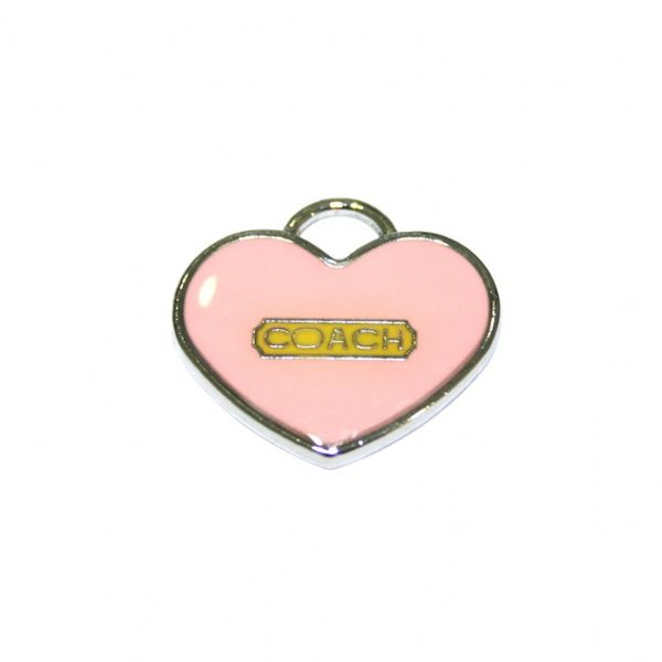 1pce x 24*12mm Rhodium plated peach colour heart with
